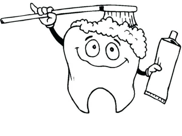 600x449 Tooth Coloring Page Tooth Coloring Pages Tooth Brushing Himself