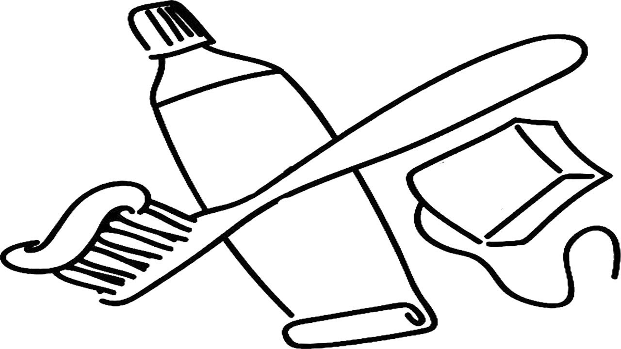 1280x720 Toothbrush And Toothpaste Coloring Page