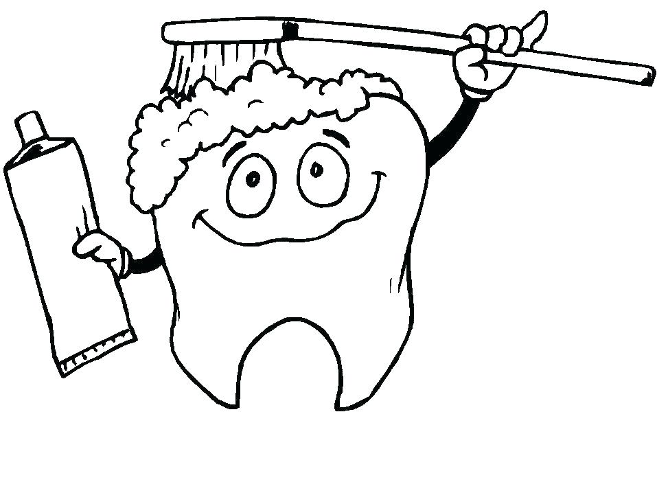 957x718 Toothbrush Coloring Page