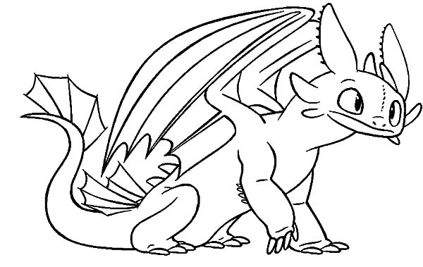 600x379 Toothless Sit Calmly In How To Train Your Dragon Coloring Pages