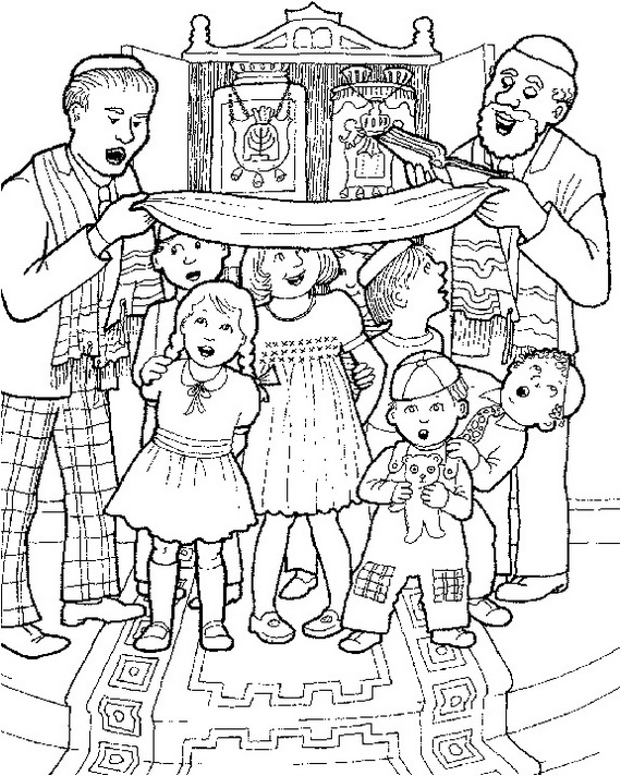 570x712 Jewish Coloring Pages For Kids Simchat Torah Simchat Torah