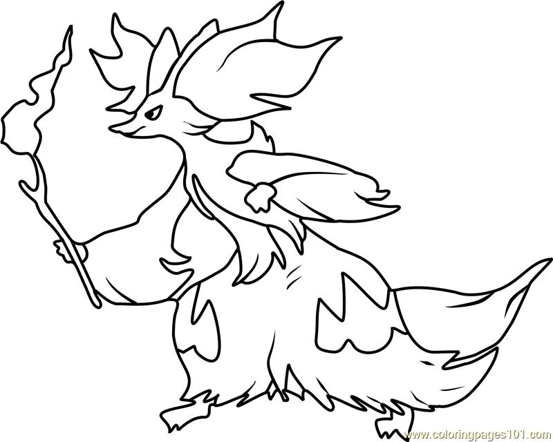 800x640 Delphox Pokemon Coloring Page