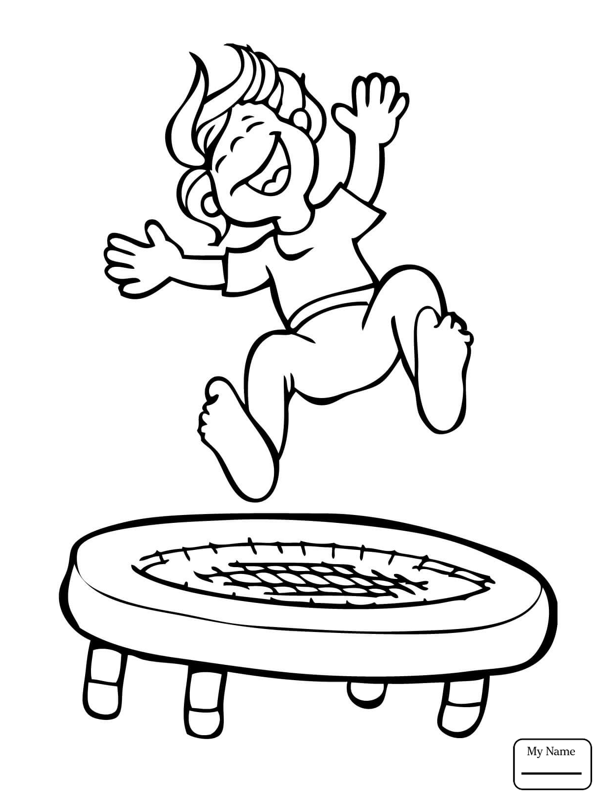 1224x1632 Informative Trampoline Coloring Page Kid Jumping On The Free