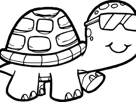 440x330 Tortoise Coloring Page Glasses Tortoise Turtle Coloring Page