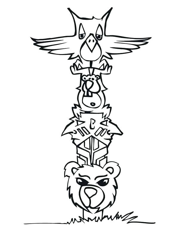 600x776 Totem Pole Coloring Pages Totem Pole Coloring Pages Cartoon