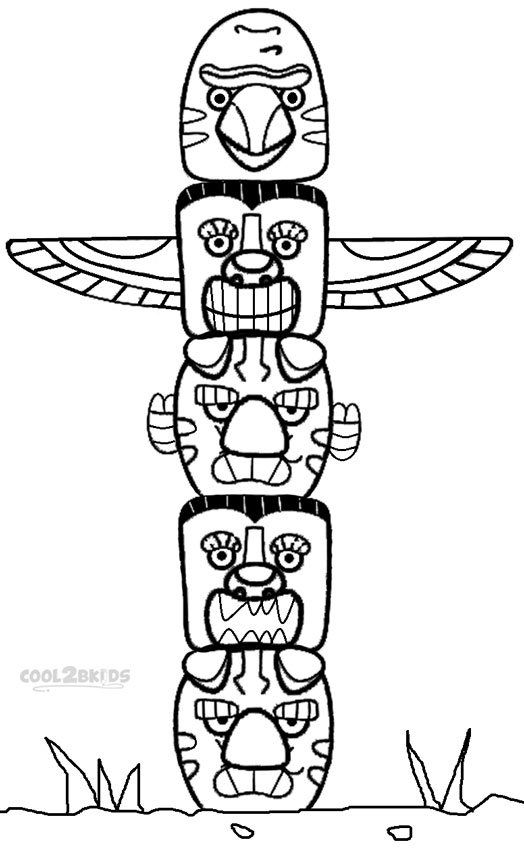 524x850 Totem Pole Coloring Page Printable Totem Pole Coloring Pages