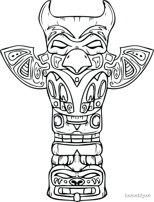 615x807 Totem Pole Animal Coloring Pages Totem Pole Coloring Pages