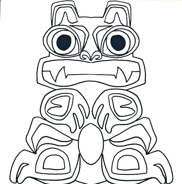 618x625 Coloring Totem Pole Coloring Pages Page Appealing Canadian Totem