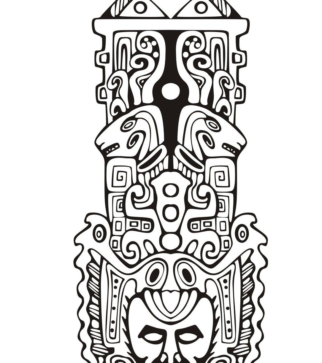 1085x1224 Coloring For Kids Totem Pole Pages Outstanding Free Printable