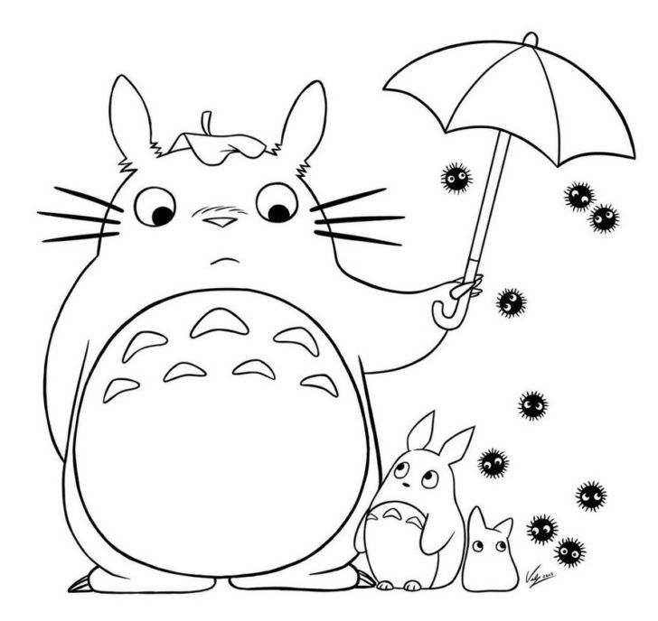 728x688 Totoro Coloring Pages