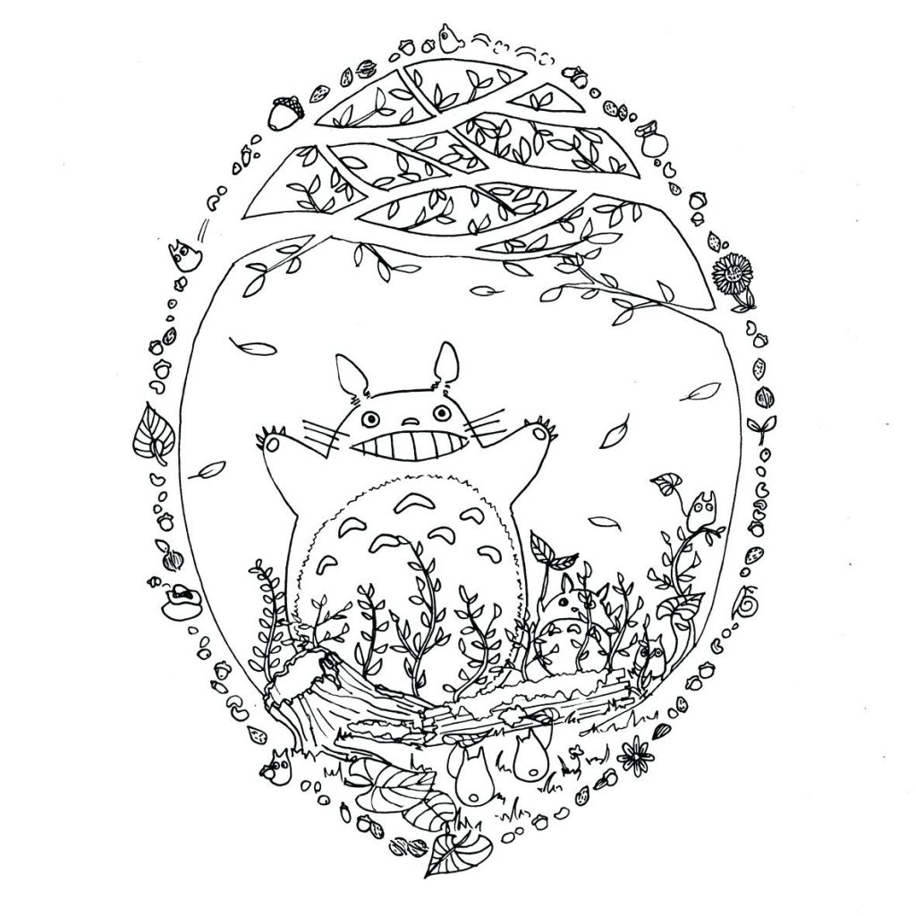 1024x1024 Totoro Coloring Pages