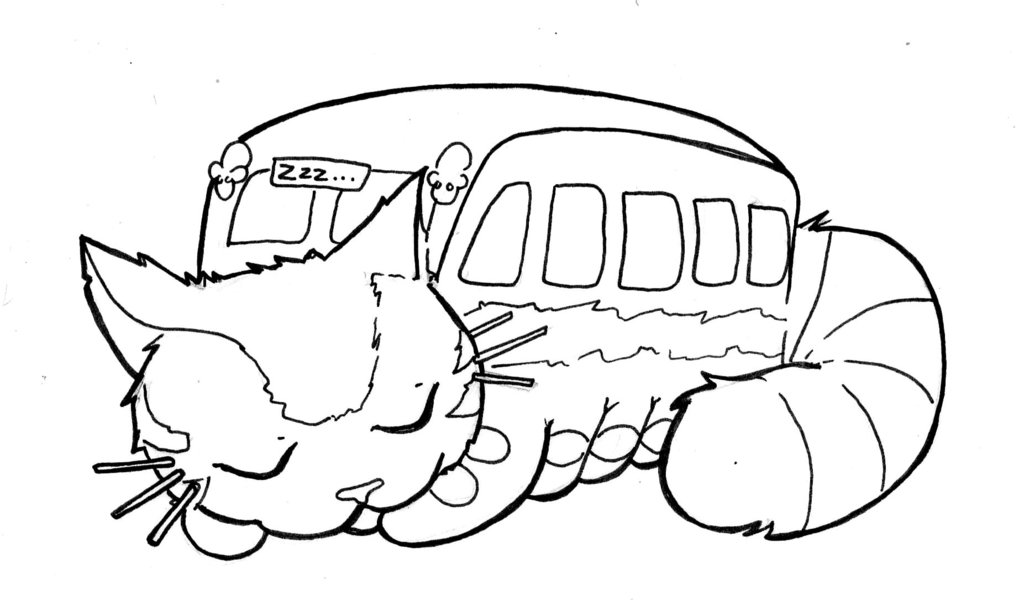 1024x600 Totoro Sleeping Catbus Coloring Page