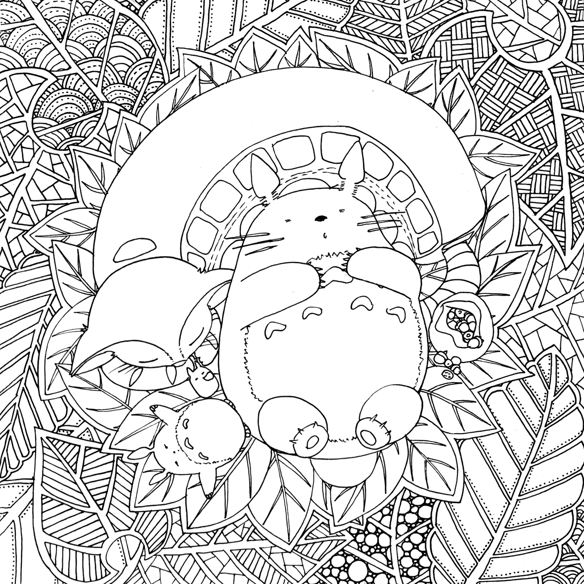 1181x1181 Doodles And Totoro Part Wordpress Papercraft With Coloring Pages