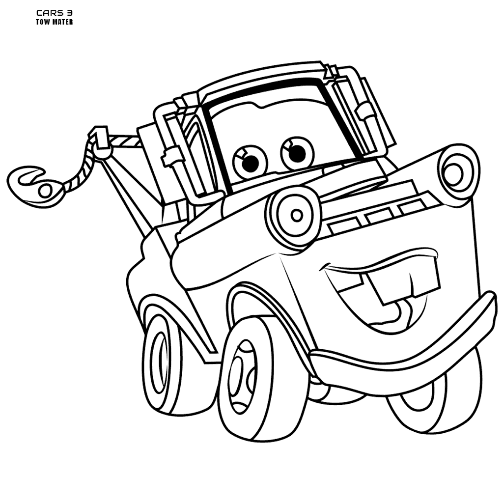 1024x1024 Disney Cars Colouring Pages Tow Mater