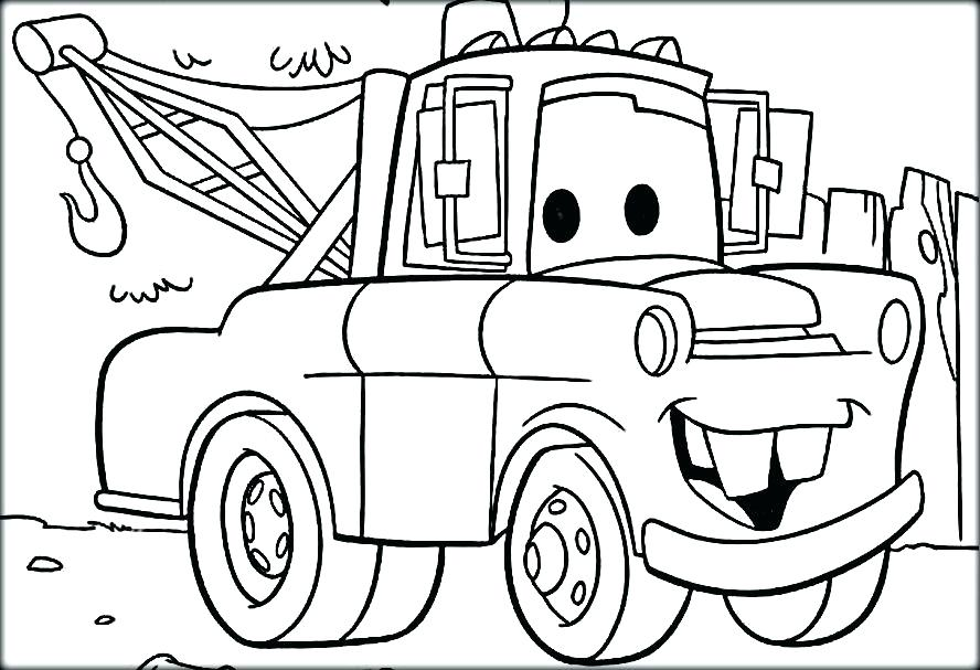 888x607 Tow Mater Coloring Pages Coloring Pages Of Lightning Funny Cars