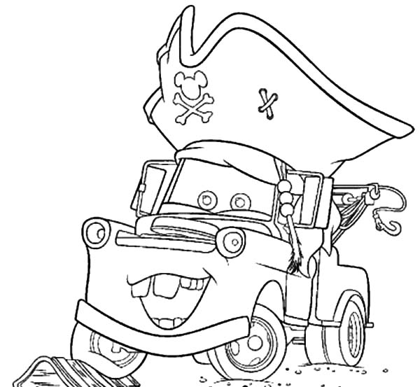 600x553 Tow Mater Wearing Pirate Hat Coloring Pages Color Luna