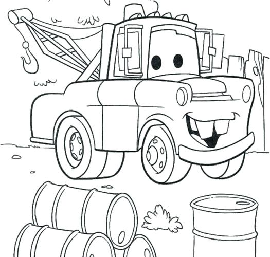 525x500 Coloring Pages Mater Coloring Pages Cars Mater Coloring Medium