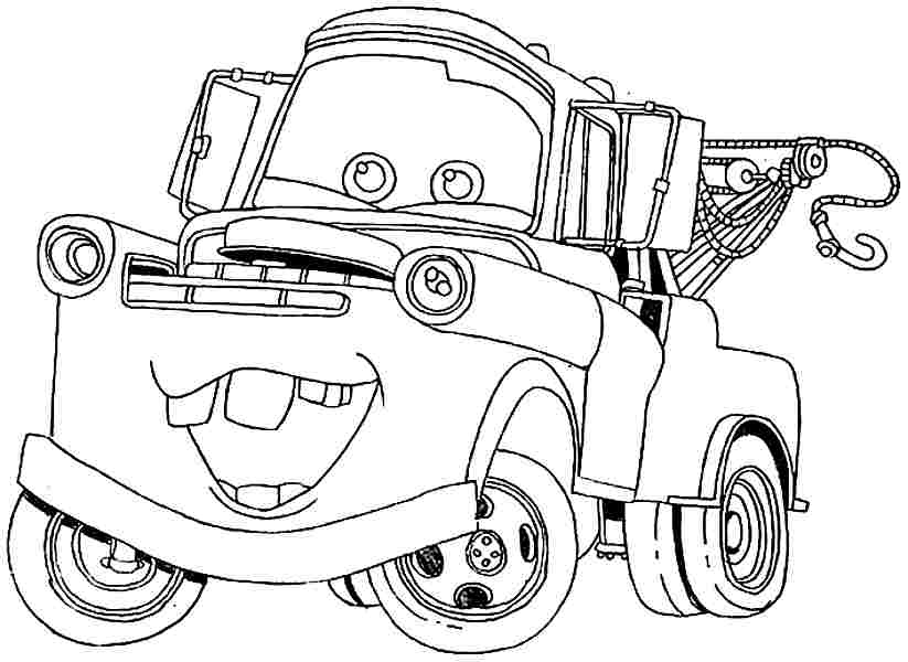 823x600 Mater Coloring Pages Free, Cars Tow Mater Coloring Pages