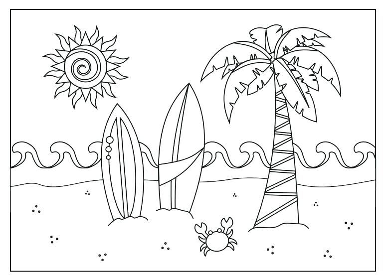 768x558 Beach Coloring Pages Tropical Beach Coloring Page Beach Towel