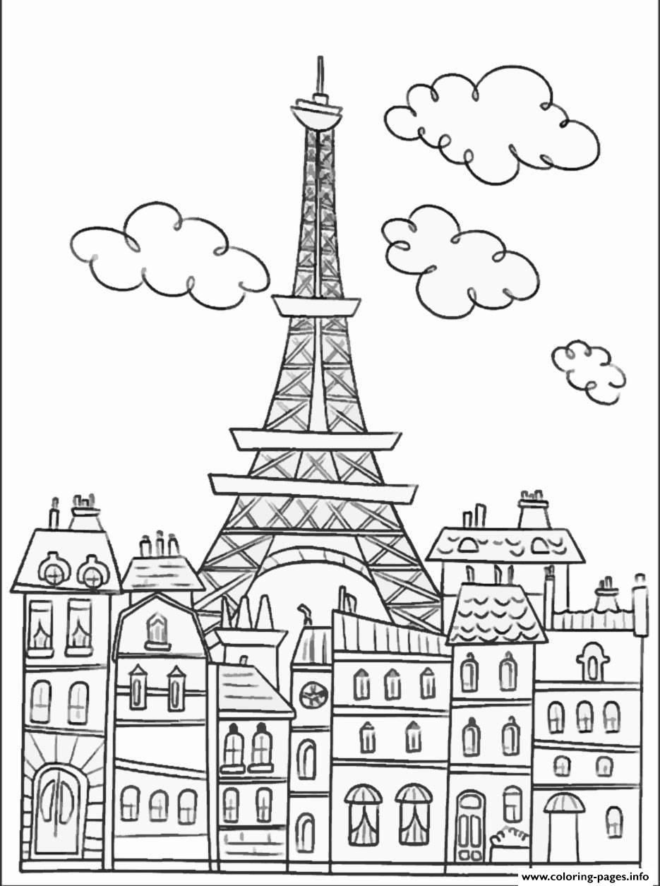 935x1255 Adult Paris Buildings And Eiffel Tower Coloring Pages Printable