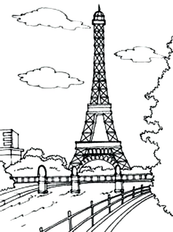 600x804 Eiffel Tower Coloring Pages Beautiful View Of Tower Coloring Page