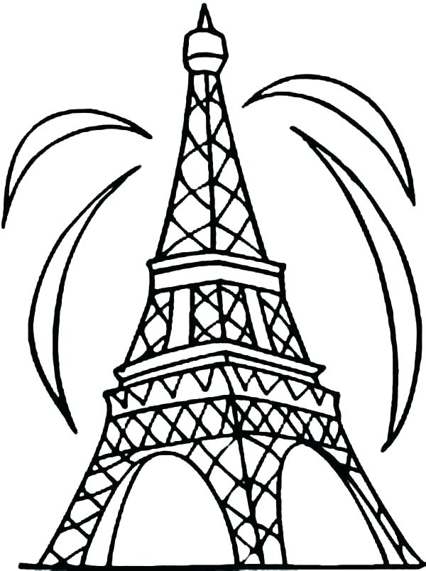 600x804 Eiffel Tower Colouring Pages Tower Coloring Pages Outline
