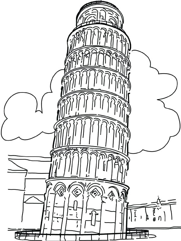 600x800 Leaning Tower Of Pisa Coloring Page Leaning Tower Of Coloring