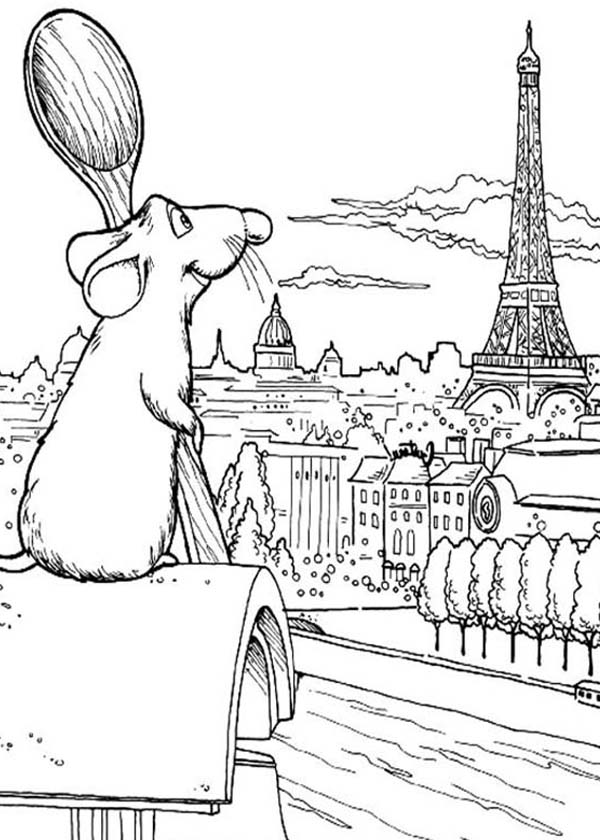 600x840 Ratatouille Admiring Eiffel Tower Coloring Pages Batch Coloring