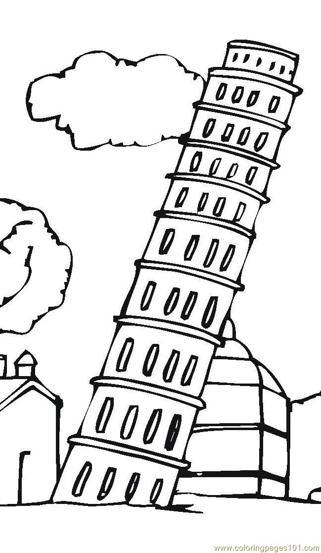 649x1116 Leaning Tower Of Pisa Coloring Page