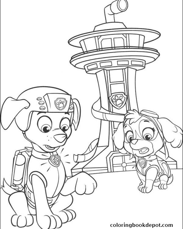 600x750 Paw Patrol Skye And Zuma Behind A Tower Coloring Pages