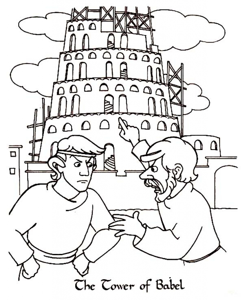 834x1024 The Tower Of Babel Coloring Pages Collection Coloring For Kids