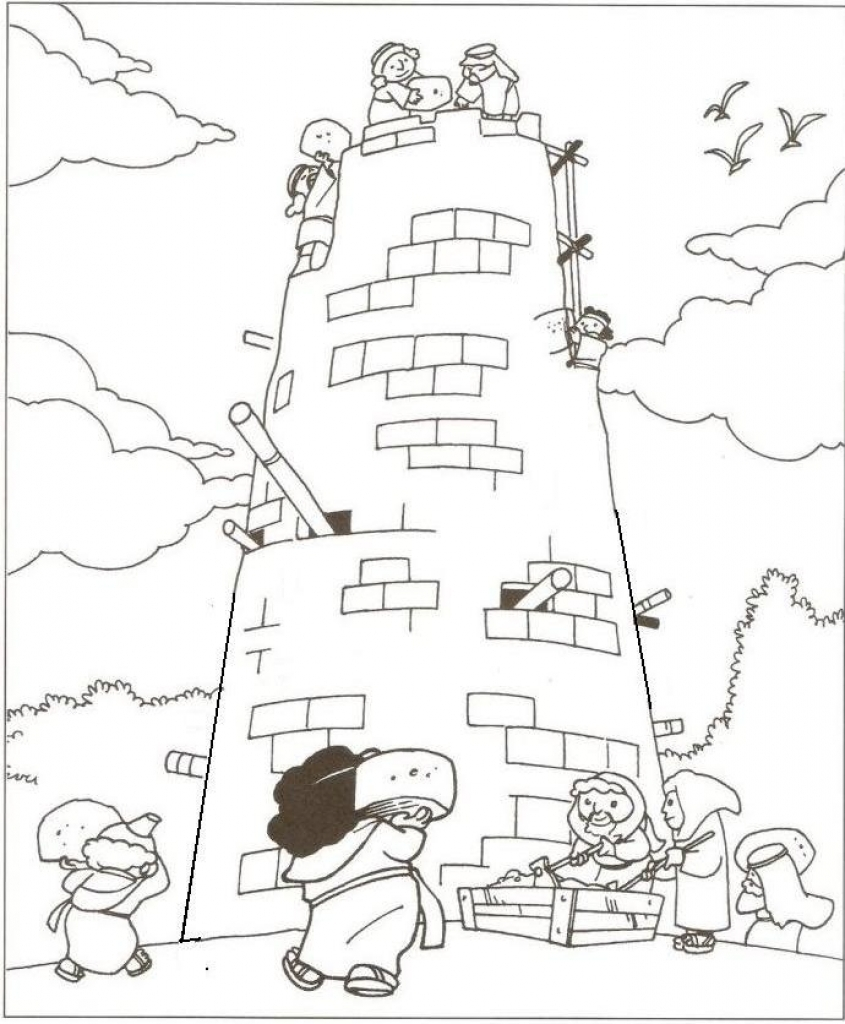 845x1024 Tower Of Babel Coloring Page
