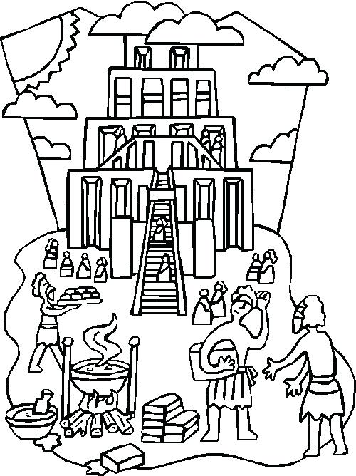500x668 Tower Of Babel Coloring Page Best Bible Images On Activities