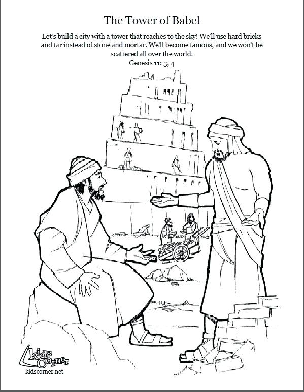 599x771 Tower Of Babel Coloring Page Script And Bible Story Tower Of Babel