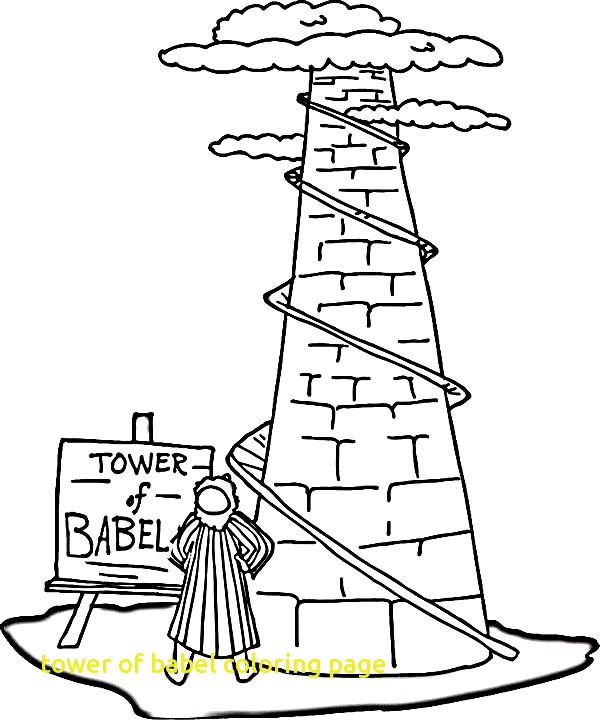 600x721 Tower Of Babel Coloring Page With Best About Bible Tower Babel