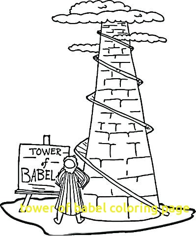 399x480 Tower Of Babel Coloring Page With Lighthouse Coloring Pages Free