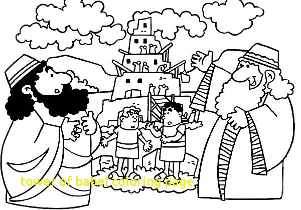 600x419 Tower Of Babel Coloring Page With Tower Babel Coloring Page