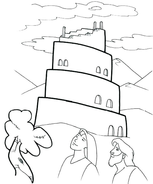 600x722 Babel Tower Coloring Page Kids Coloring Tower Of Babel Coloring
