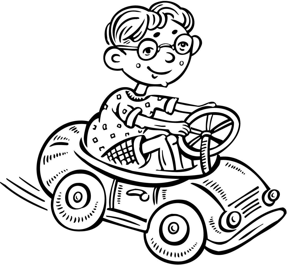1212x1120 Colouring Page Of A Small Boy Driving A Toy Car