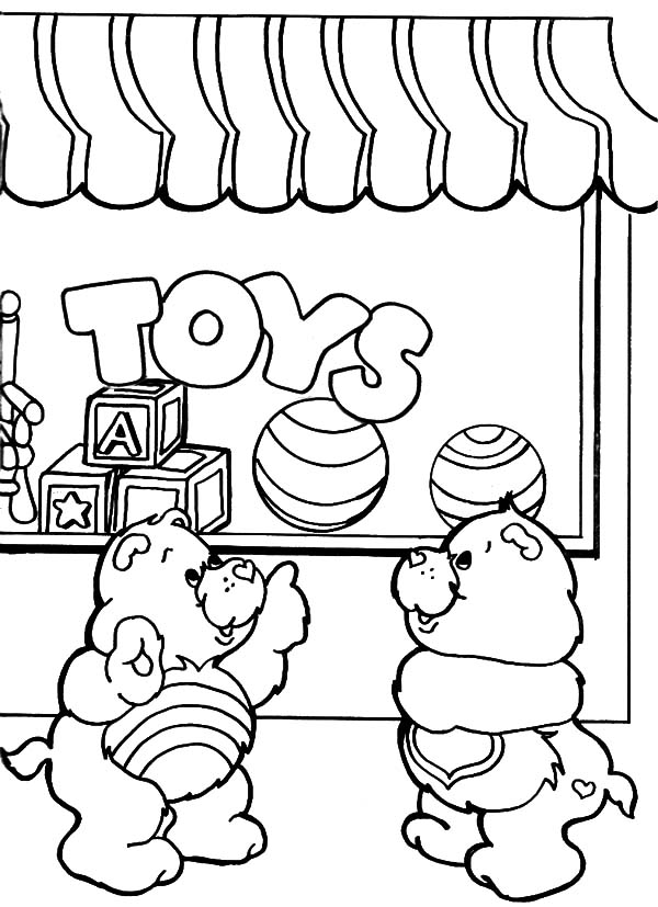 600x827 Care Bears In Front Of Toys Shop Coloring Pages Best Place To Color