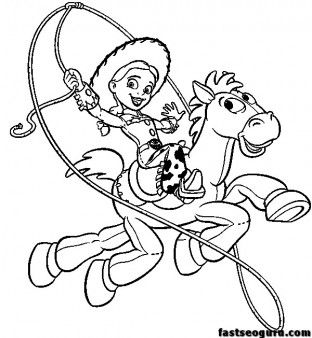 312x338 Toy Story Jessie And Bullseye Print Coloring Pages