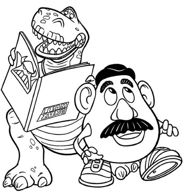 600x632 Rex And Mr Potato Head In Toy Story Coloring Page