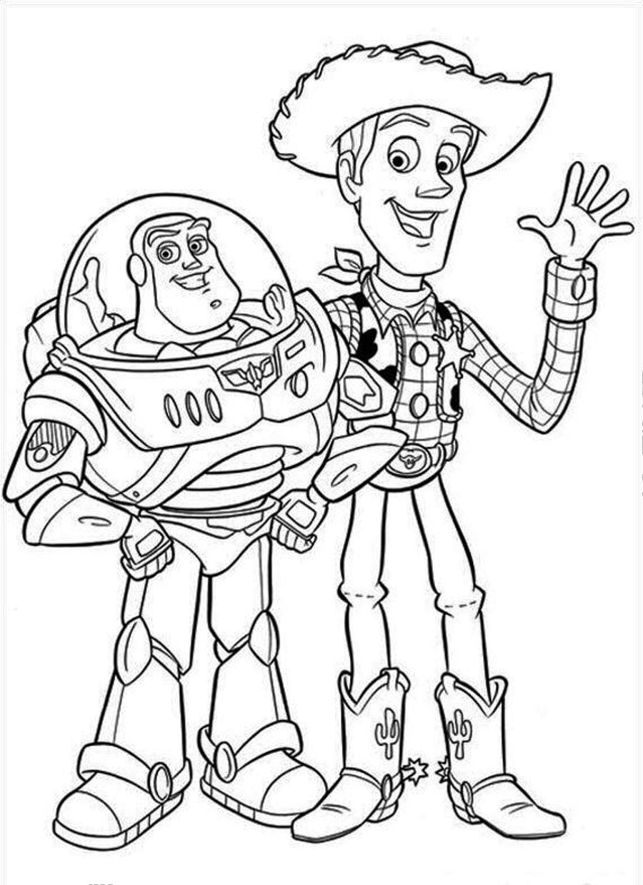 900x1240 Woody And Buzz Lighteryear Free Coloring Page Disney, Kids, Toy