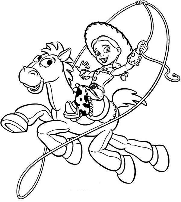 600x668 Jessie Riding Bullseye In Toy Story Coloring Page
