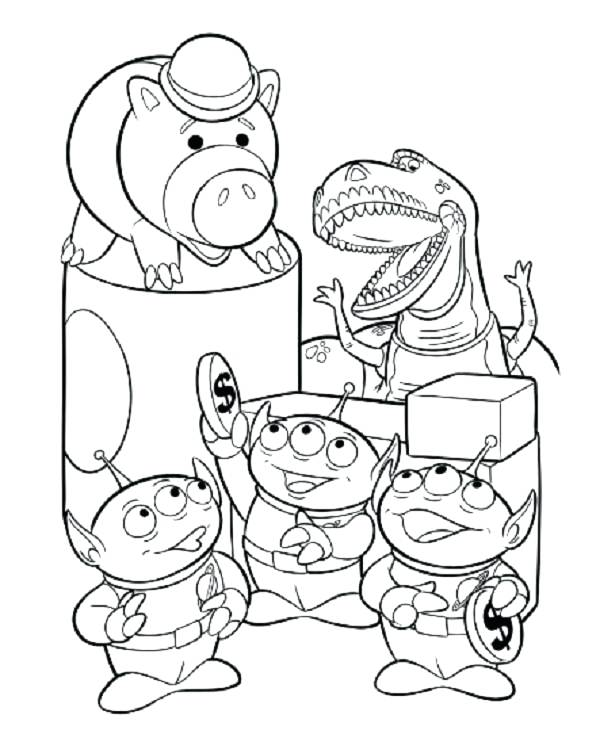 600x738 Toy Story Coloring Pages Story Coloring Pages Aliens And Ham Woody