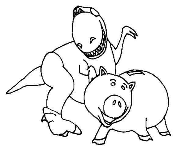 600x502 Rex And Hamm In Toy Story Coloring Page