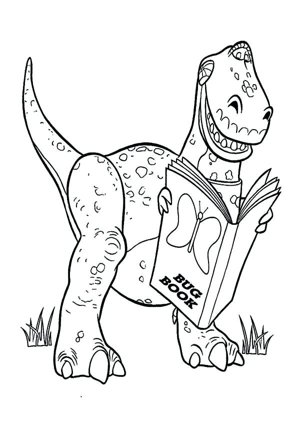 600x849 Toy Story Rex Coloring Pages Toy Story Is Reading A Book In Toy