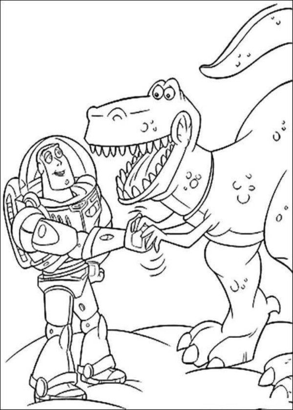 600x840 Buzz Lightyear With Rex Toy Story Coloring Pages