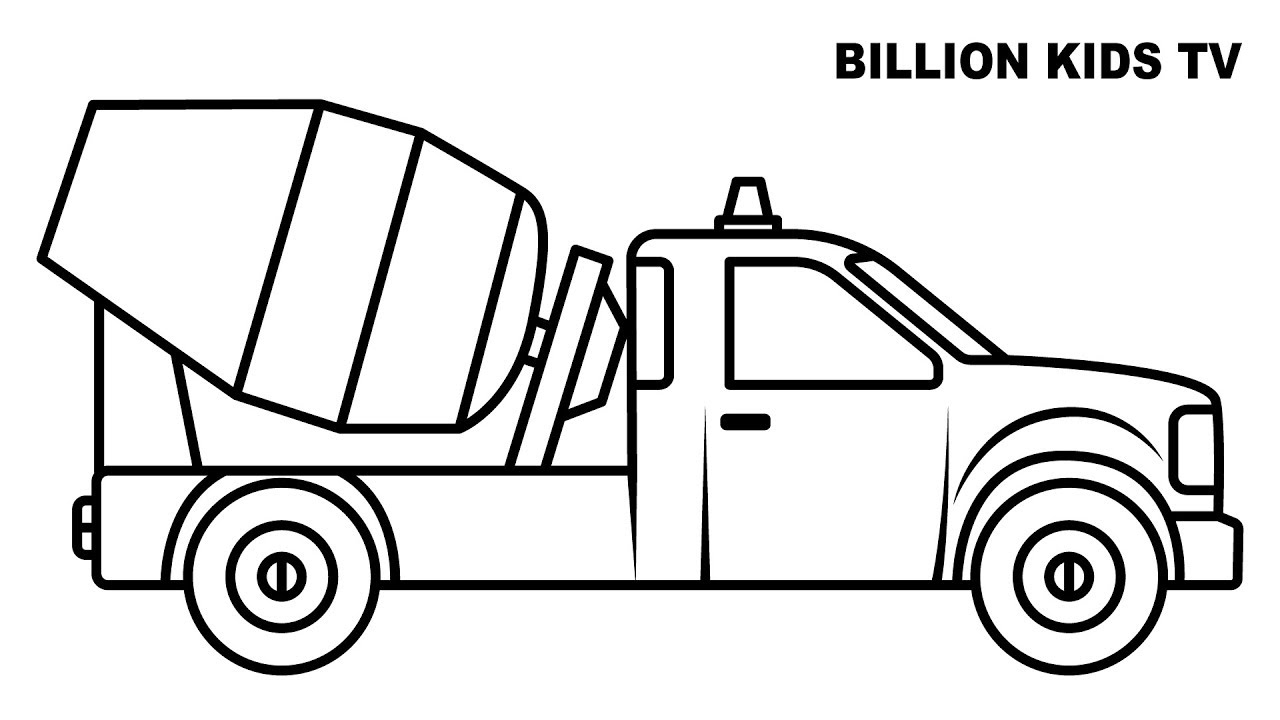 1280x720 Colors Mixer Truck Coloring Pages, Colors For Kids Vehicles Video