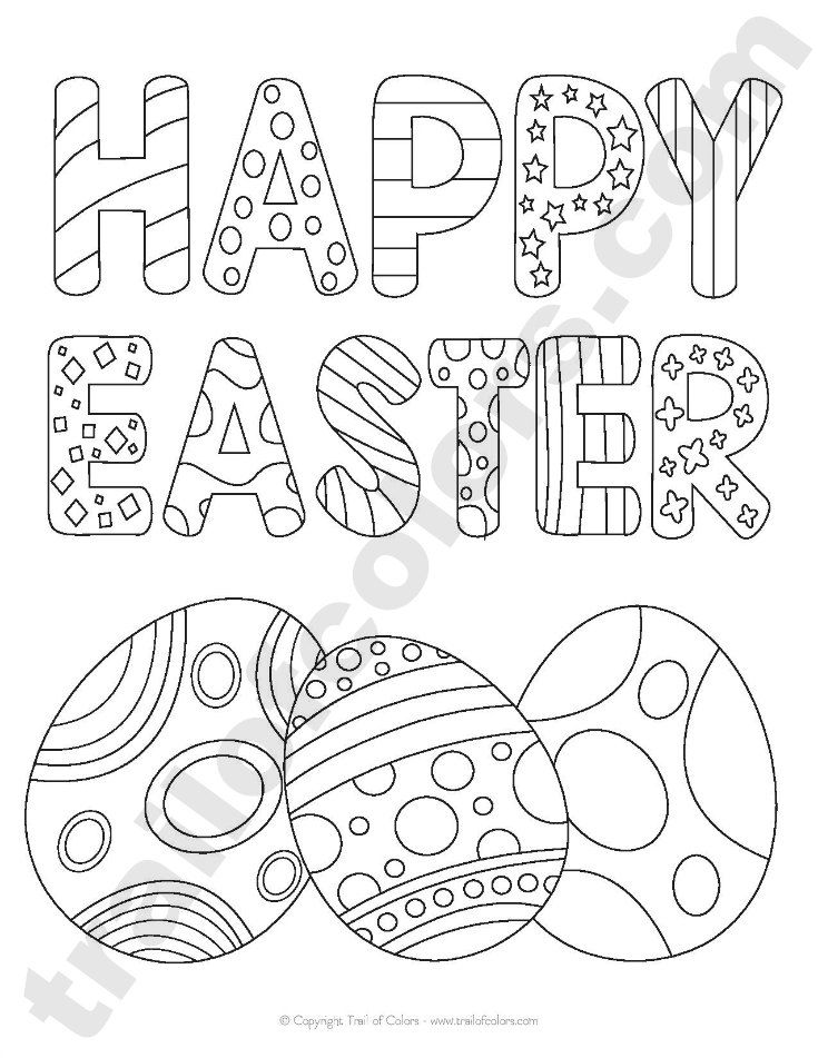 735x951 Happy Easter Tracing Coloring Page Happy Easter, Easter And Free